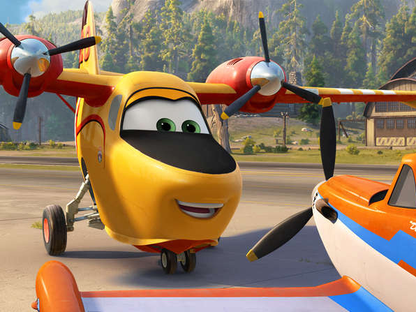 """Coming to a playset near you: Lil´ Dipper (left, voiced by Julie Bowen) and Dusty (Dane Cook) are part of the anthropomorphic aerial firefighting crew winging it in """"Planes: Fire & Rescue."""""""