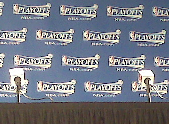 A Blackberry snapshot of the post-game media room. It is, most definitely, the NBA Playoffs.
