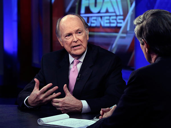 Philadelphia Federal Reserve President Charles Plosser is interviewed by senior Washington correspondent Peter Barnes, on the Fox Business Network, in New York, Tuesday, June 24, 2014. (AP Photo/Richard Drew)