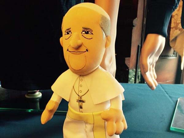 The official Pope plush doll for September visit (photo: Stephanie Farr)