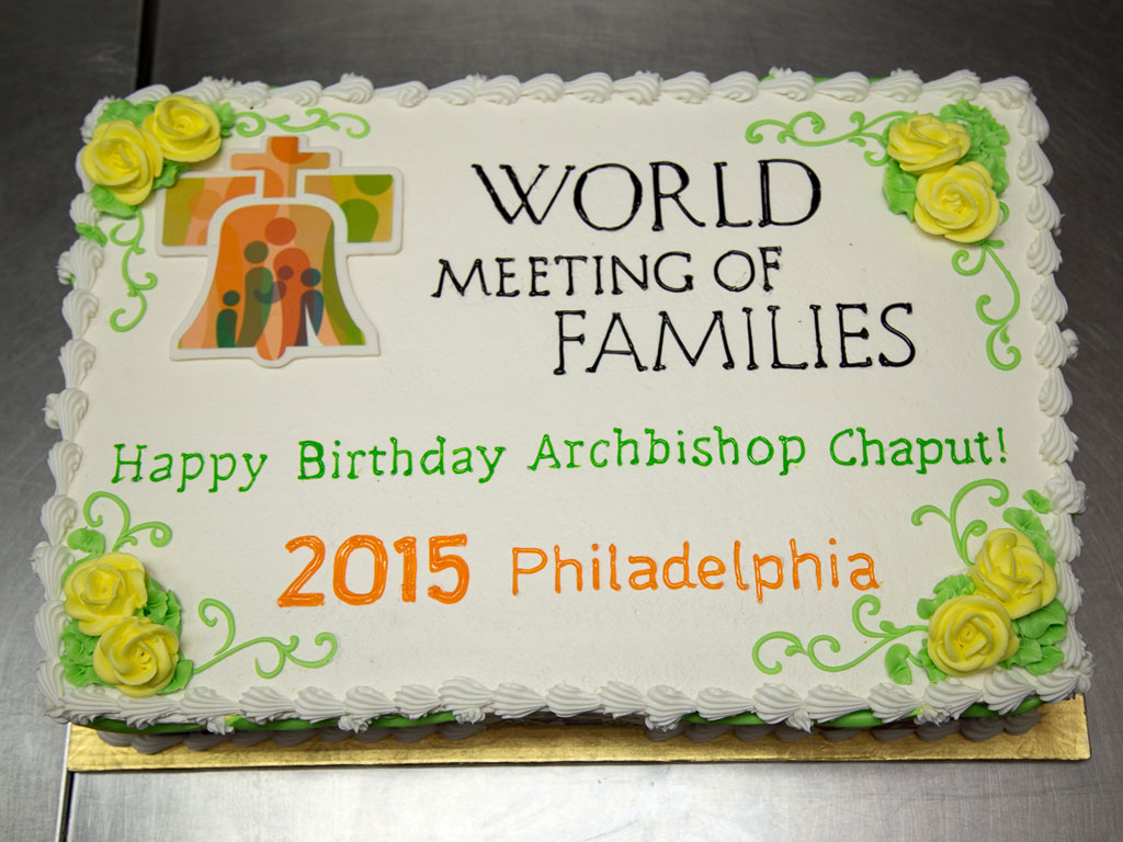 Birthday cake made by Isgro´s Pastries to celebrate Archbishop Charles Chaput´s birthday.