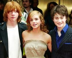 "Rupert Grint, Emma Watson and Daniel Radcliffe of ""Harry Potter."""