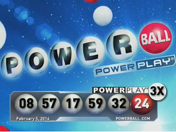 An image from the video of the Feb. 5, 2014 Powerball drawing shows the winning numbers.