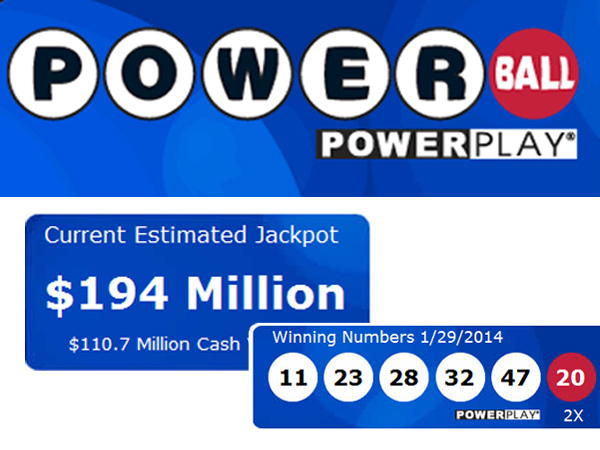 The Powerball jackpot for the Feb. 1, 2014, drawing was $194 million.