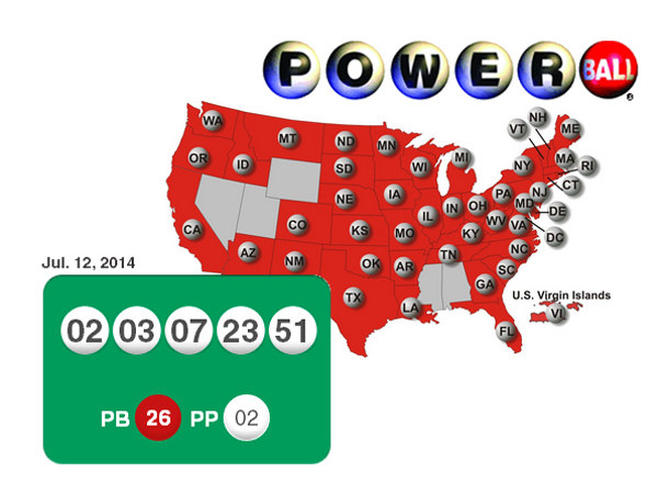 The Powerball numbers for July 12, 2014, and a map showing the states where Powerball is played.