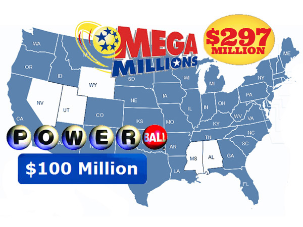 The map of participating states is the same for Mega Millions and Powerball, but they had very different sized jackpots as of Friday afternoon, Dec. 6, 2013. Friday night, the Mega Millions jackpot rolled over to $344 million for the Tuesday, Dec. 10, drawing.