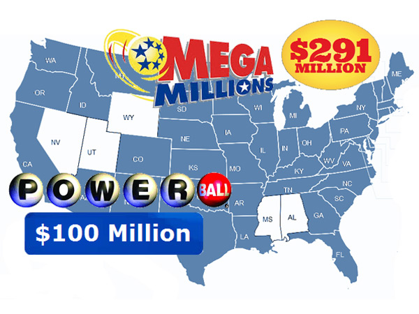 The map is the same for Mega Millions and Powerball, which had very different sized jackpots as of Dec. 5, 2013,<br />