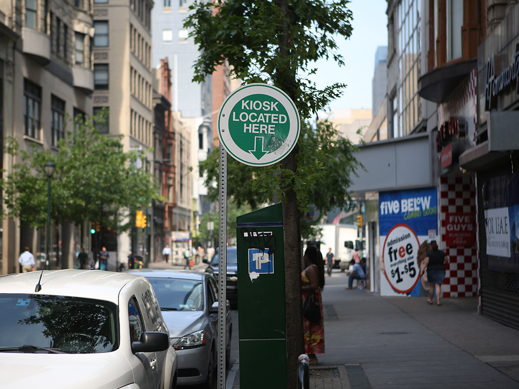 A PPA parking kiosk in Center City. A new grant allows the city to ponder what would happen when more than one frustrated driver gets an alert on a phone-based parking app and starts racing to a precious open spot.