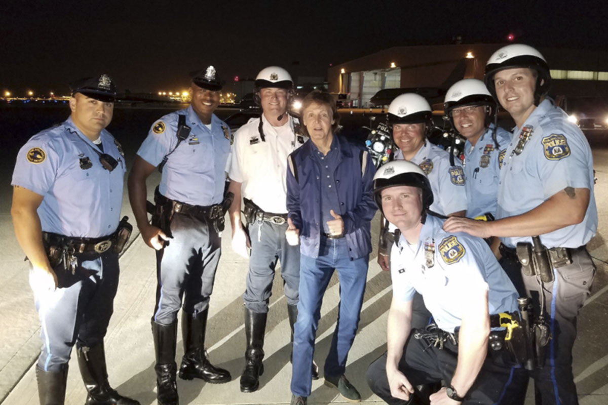 philly police snap photo with paul mccartney after
