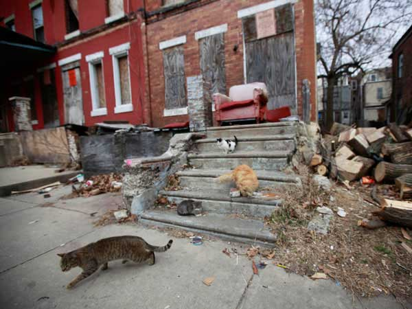 This boarded-up rowhouse with a chair on its front stoop at 3831 Cambridge St. in West Philadelphia is owned by Antoine Gardiner. He and his property management company, Bizness As Usual, owe $471,000 in back taxes on 58 properties, public records show. DAVID SWANSON / Staff Photographer