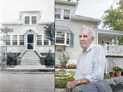 Jack Callahan in front of his Wildwood Crest home (right), and a photo of the home taken about 1920. ( Elizabeth Robertson / Staff Photographer )