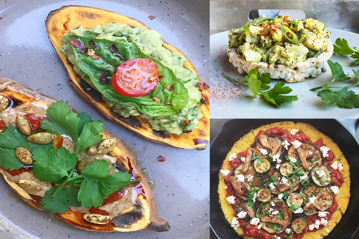 Sweet Potato Toast (L), Avocado Egg Salad (Top R), and Polenta Pizza (Bottom R).