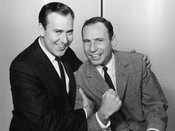 "Carl Reiner and Mel Brooks perform their ""2,000-Year-Old Man"" routine"