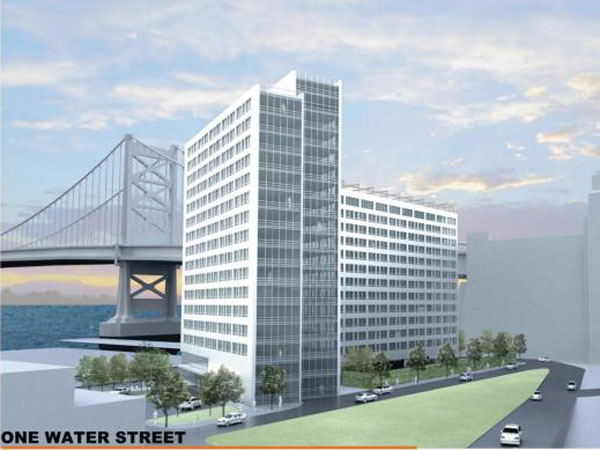 A rendering of a proposed 250-unit apartment building at 230 N. Columbus Blvd. near the Ben Franklin Bridge. The project, designed by Varenhorst, is called One Water Street. (PlanPhilly)