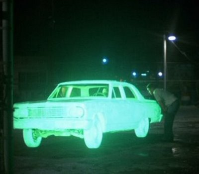 "The 1964 Chevy Malibu responsible for a transcendent moment in ""Repo Man,"" Alex Cox´s memorable 1984 film."