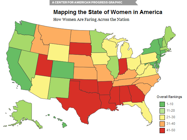 "A map with the report, ""The State of Women in America,"" shows Pennsylvania bordered by four states that outranked it. Maryland was No. 1 overall, Pennsylvania No. 28."