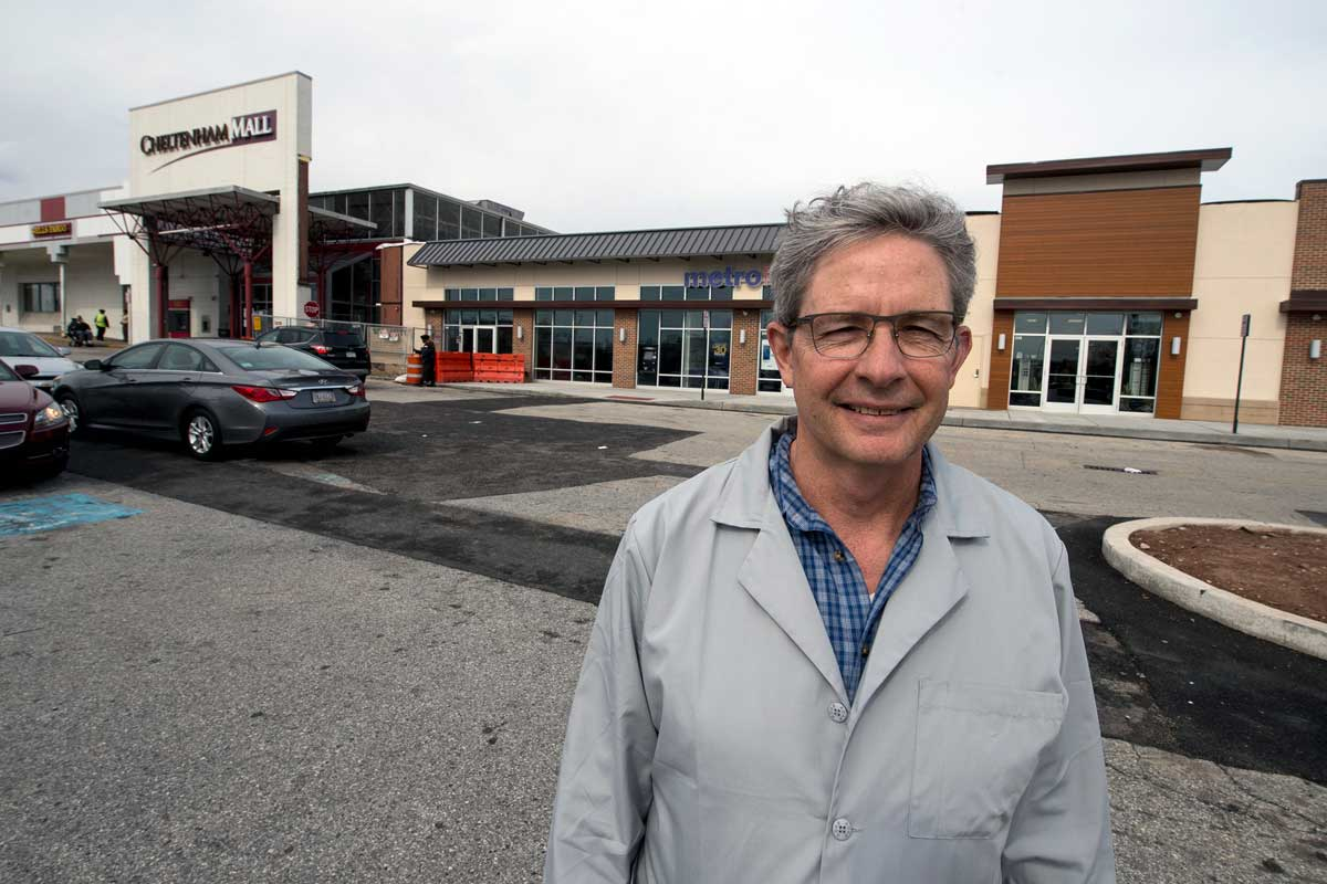 David Boisselle, 57, of the Philadelphia Vision Center, decided to stay put during Cheltenham Mall renovations.<br />