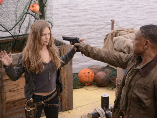 "Tracy Spiradakos (left) and Giancarlo Esposito in a scene from Monday´s ""Revolution"""