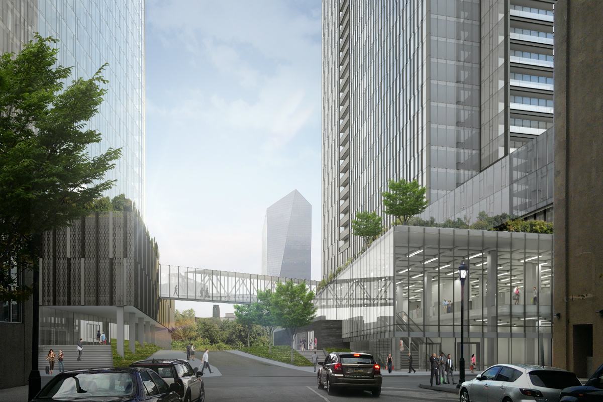 Artist's rendering of the entrance, at 23rd and Arch Streets, to River Walk, a Schuylkill-side residential-tower complex proposed by PMC Property Group.