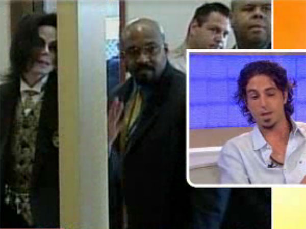 "Wade Robson, right, on the ""Today"" show. Michael Jackson in the background."