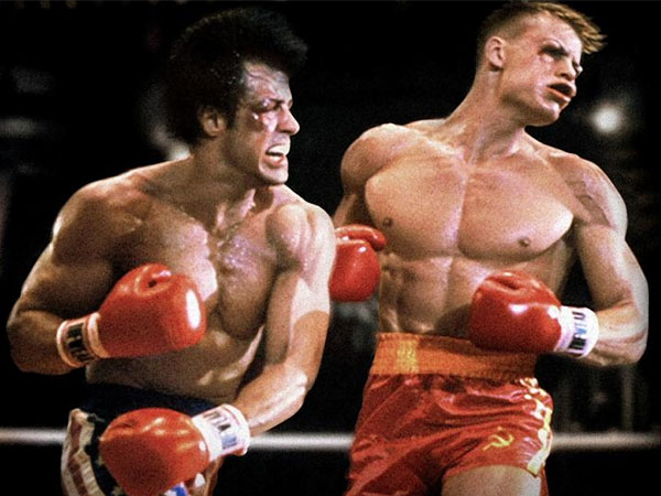 Sylvester Stallone as Rocky knocks out Dolph Lundgren as Ivan Drago in ´Rocky IV,´ the greatest of all ´Rocky´ movies.