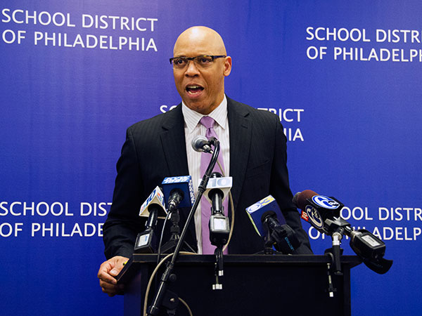 Philadelphia Superintendent Dr. William R. Hite speaks at a press conference to discuss the proposed operating budget for fiscal year 2015 at the School District of Philadelphia´s headquarters on April 25, 2014. (RACHEL WISNIEWSKI / Staff Photographer)