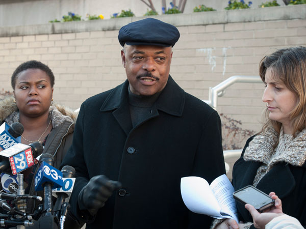 Philadelphia Federation of Teachers president Jerry Jordan along with Quanisha Smith of Action Now (left) and Anne Gemmell of Fight for Philly respond to Philadelphia School Superintendent William Hite´s action plan in front of Philadelphia School District Headquarters. ( RON TARVER / Staff Photographer )