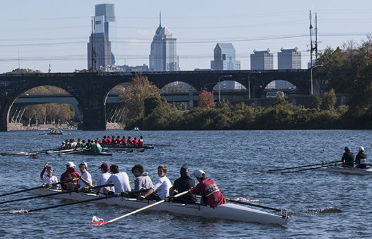 68 Varsity Men´s 8 boats competed in the Head of The Schuylkill Regatta this past Sunday. (PATRICK MCPEAK/STAFF PHOTOGRAPHER)