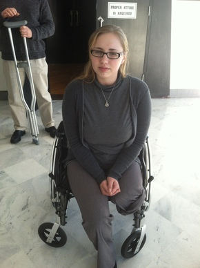 Ashley Zauflik outside courtroom last week. (Bill Reed/Staff)