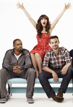 "Zooey Deschanel and a couple of her ""New Girl"" buddies, Damon Wayans Jr., and Jake Johnson."