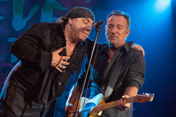 Steve Van Zandt and Bruce Springsteen at the Paramount Theatre on the Asbury Park Boardwalk this weekend.