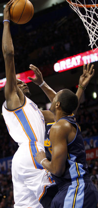 Durant powers to the hoop for two of his 51 earlier this month ( AP  Photo )