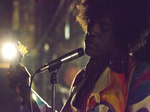 "André ""3000"" Benjamin as Jimi Hendrix in ""Jimi: All Is By My Side."""