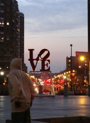 LOVE Park was empty on Friday night.