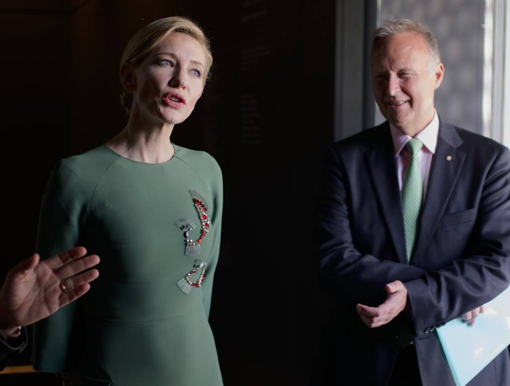Actress Cate Blanchett attends the inauguration of the Australian pavilion displaying installations by Australian artist  Fiona Hall, during the 56th Biennale of Arts in Venice, on  May 5.
