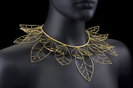 This golden Barbara Heinrich leaf necklace will be on display at this weekend´s Treasures show. This photo is courtesy of the Women´s Committee of the Penn Museum