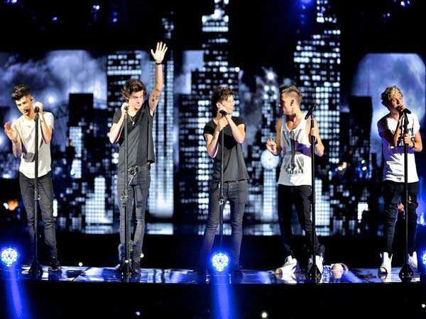 One Direction in concert, from left to right,  Zayn Malik, Harry Styles , Louis Tomlinson, Liam Payne and Niall Horan  ( HANDOUT / HANDOUT )