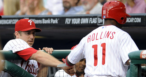 Chase Utley can see Jimmy Rollins climbing up the Phillies home run chart (AP).<br />