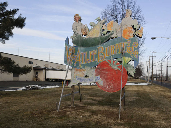 Historic sign at the W. Atlee Burpee & Co. complex in Warminster. ( RON TARVER / Staff Photographer ) March 11 2014