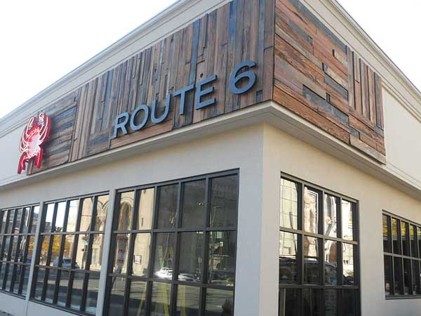 Route 6 is at Broad and Mount Vernon Streets, with its entrance through a patio on Mount Vernon.