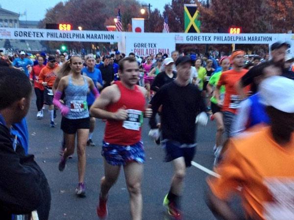 The first runners take off at the 2013 Philadelphia Marathon on Sunday, Nov. 17.