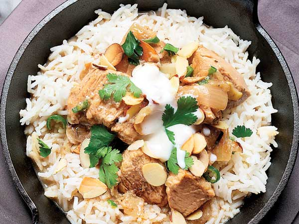 A lighter version of Chicken Korma which can clock in at 600 calories still delivers plenty of flavor.  (Photo for The Washington Post by Deb Lindsey)