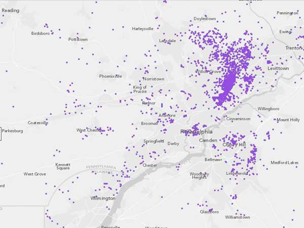 RUSSIAN: This Census Bureau map shows where Russian-speakers live in the Philadelphia region. Each dot represents about 10 people.