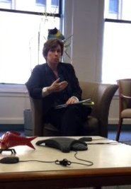 AFT president Randi Weingarten spoke to the Inquirer Editorial Board (Russell Cooke/Inquirer staff)