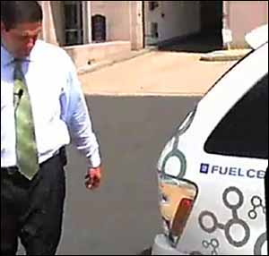 Rep. Jim Ryan checks out a GM fuel-cell vehicle before test-driving it and declaring it ´a chick magnet.´