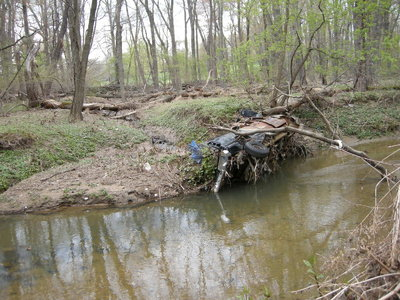 A truck in a creek, which the NSU eventually removed.
