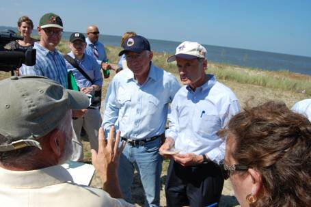 U.S. Secretary of the Interior Ken Salazar joins Sen. Tom Carper at a Delaware Bayshore event in 2012.
