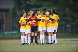 The La Salle women&acute;s soccer team gathers on the field to discuss<br />strategy. The team has not allowed a goal in 11 games this season.<br />(Courtesy of La Salle University)