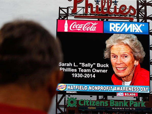 "A moment of silence was held during Saturday´s game at Citizens Bank Park for Sarah L. ""Sally"" Buck, who passed away earlier in the day. Her and her husband were part of the organization since 1981."