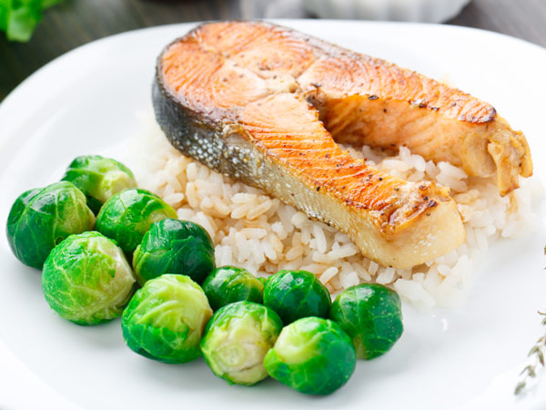 Salmon and Brussels sprouts is one of the meals we chose for you this week. Brussels, a cruciferous veggie, contains high amounts of Vitamin C, folate and fiber.